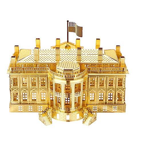 Piececool The White House Puzzle In Metallo 3d Per Adulti Modello Tradizionale Di Architettura Tradizionale Del Mondo 122 Pezzi Oro 0