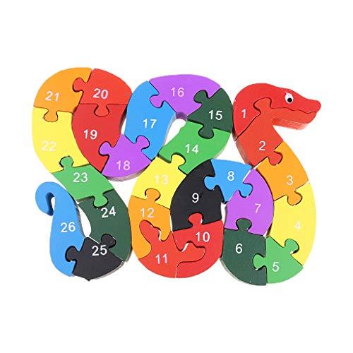 Qingqingr Alfabeto Jigsaw Puzzle Building Blocks Puzzle Di Legno Animale Lettere Di Serpente Di Legno Numeri Block Toys For Children Toys Snake 0 3