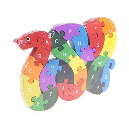 Qingqingr Alfabeto Jigsaw Puzzle Building Blocks Puzzle Di Legno Animale Lettere Di Serpente Di Legno Numeri Block Toys For Children Toys Snake 0 4