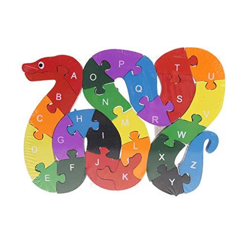 Qingqingr Alfabeto Jigsaw Puzzle Building Blocks Puzzle Di Legno Animale Lettere Di Serpente Di Legno Numeri Block Toys For Children Toys Snake 0